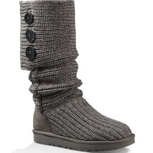 UGG Gray Cardy Knit Boots